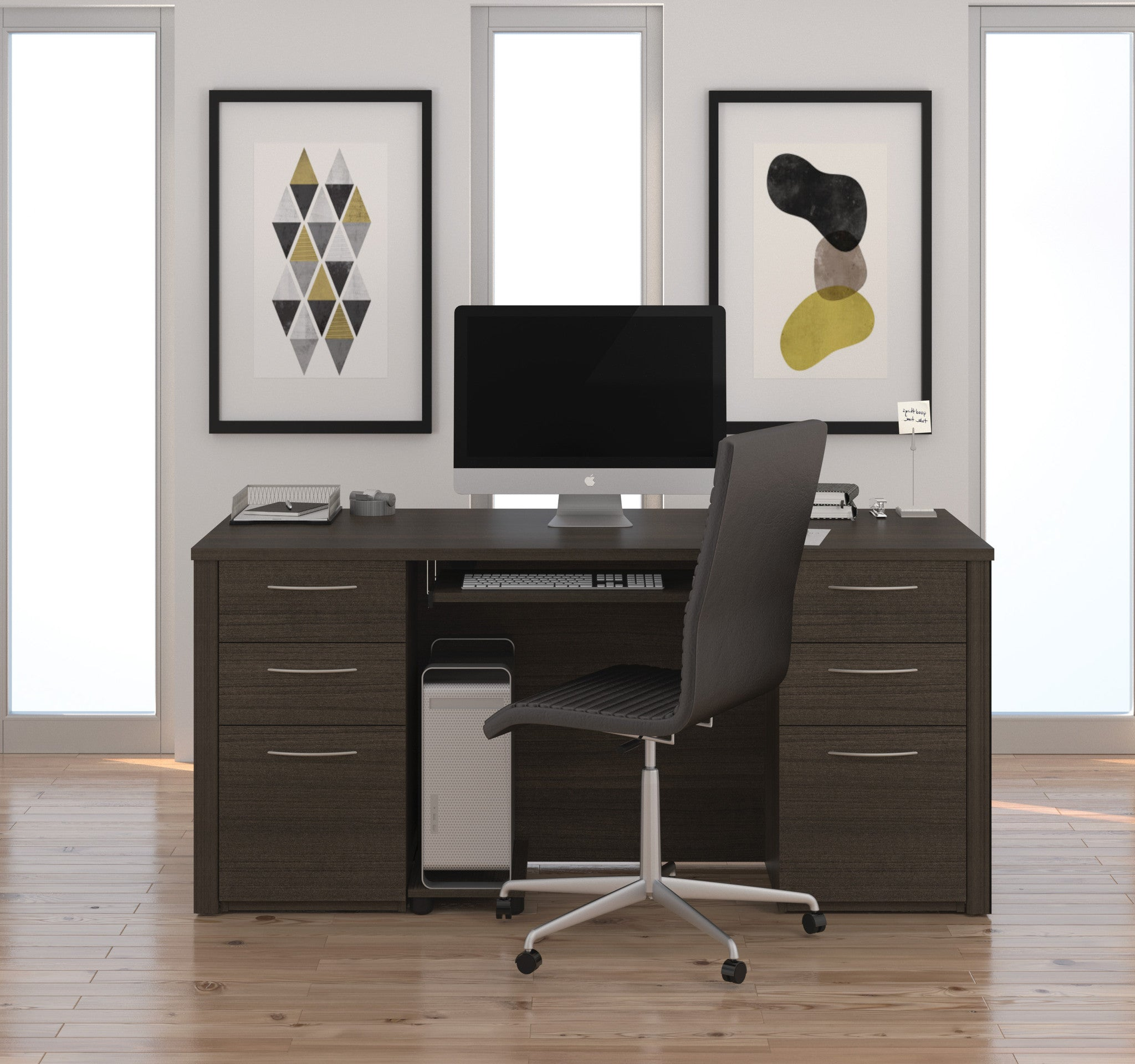 locking modern computer best luxury shaped on full office desk with of drawer desks size off home l archived furniture