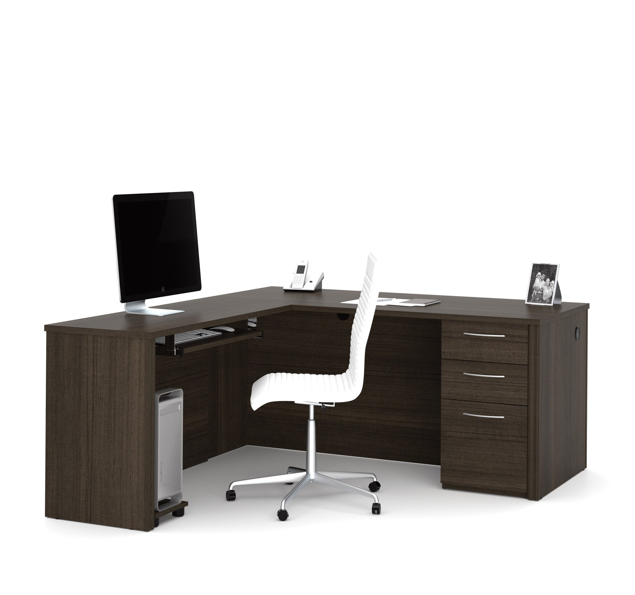 Premium Modern L-Shaped Desk in Dark Chocolate