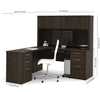 Double Pedestal L-shaped Desk with Hutch in Dark Chocolate