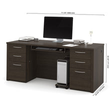 "Load image into Gallery viewer, 71"" Double Pedestal Executive Desk in Dark Chocolate"