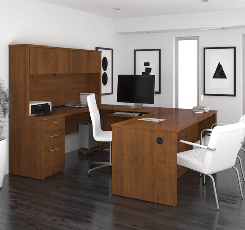 Modern U-shaped Premium Office Desk with Hutch in Tuscany Brown
