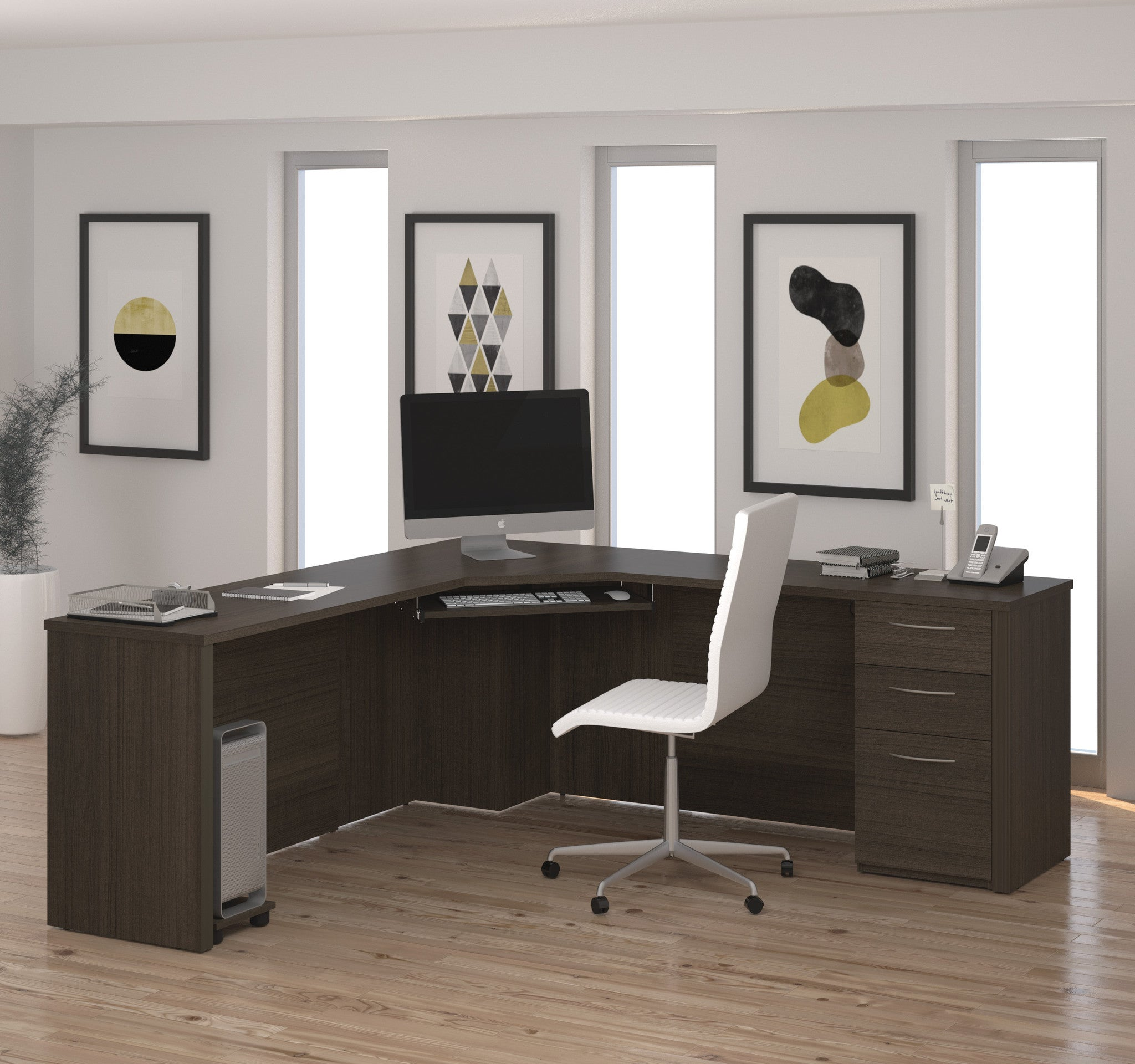 "Contemporary 78"" x 78"" Corner Desk in Dark Chocolate"