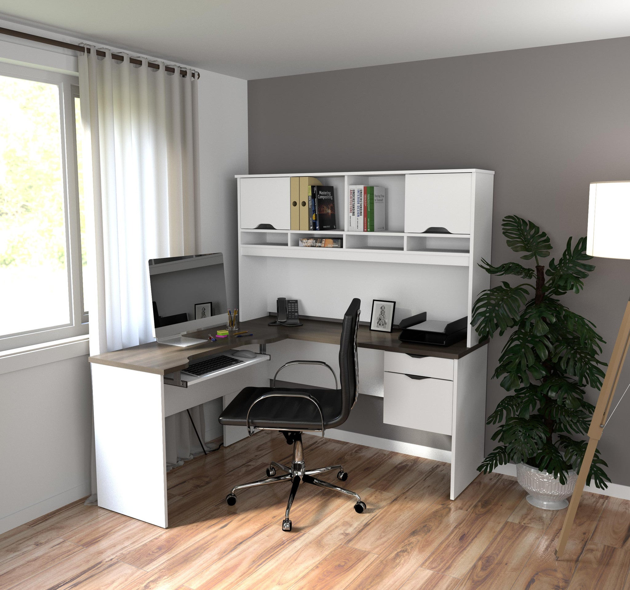 Modern White & Antigua L-shaped Computer Desk with Hutch