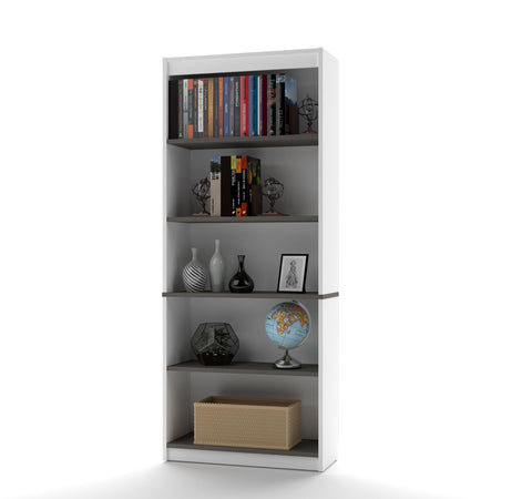 "72"" Five-Shelf Bookcase in Modern White & Antigua"