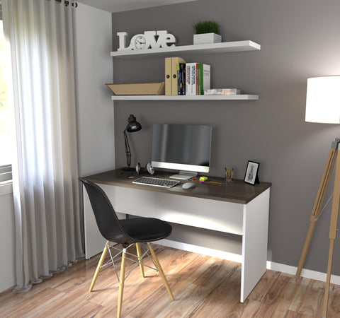 "63"" Modern Executive Desk in White & Antigua"