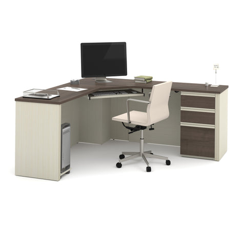 "71"" x 71"" Modern Corner Desk in White Chocolate & Antigua"