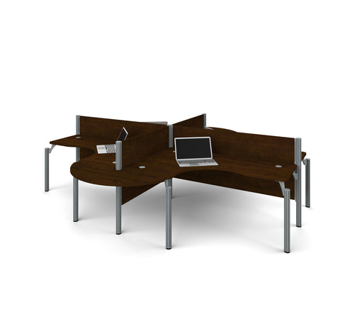 Premium Pro-Biz Quad Desk with Rounded Edges in Chocolate