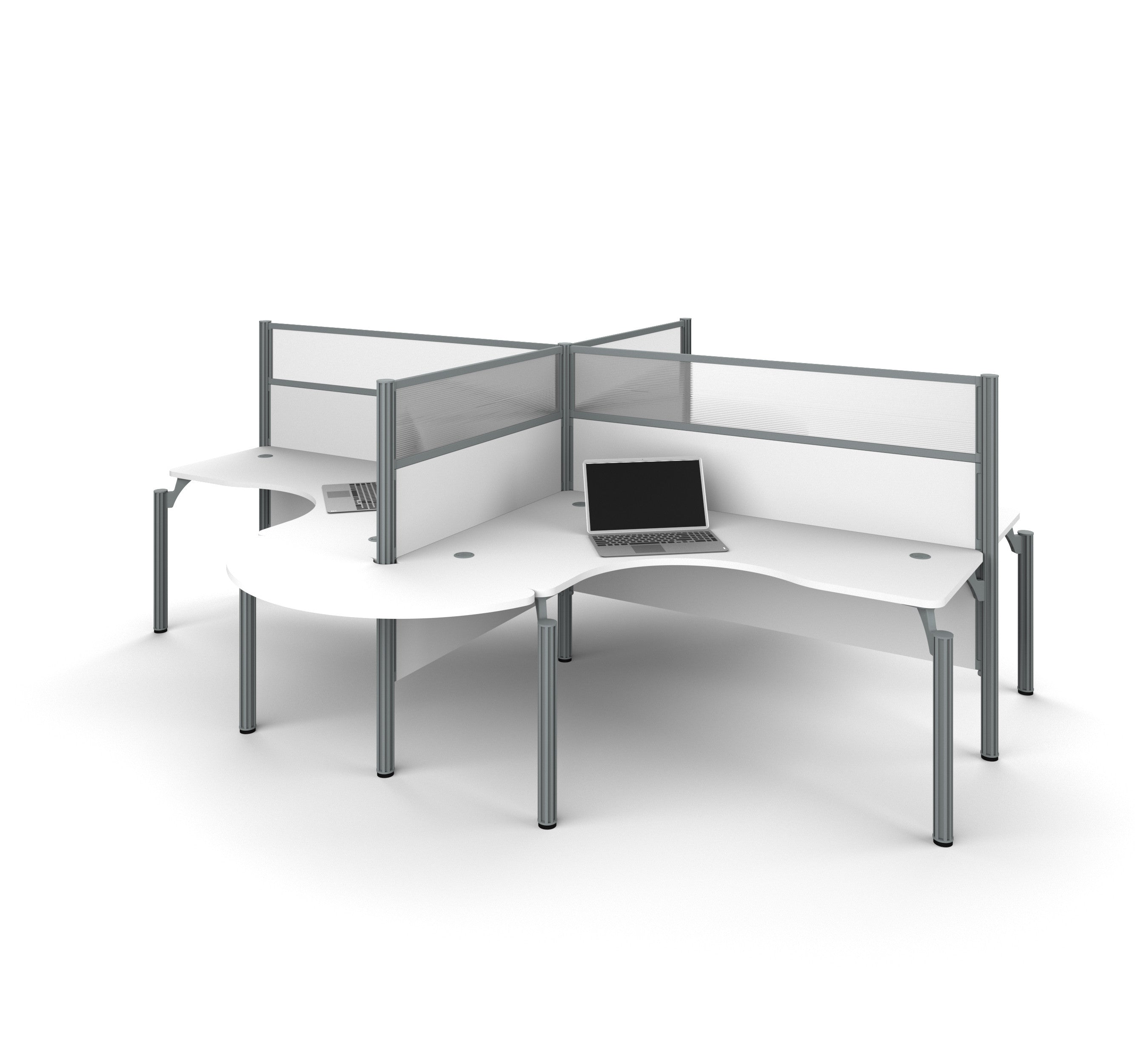 "Pro-Biz Quad Desk in White with Rounded Edges & 55"" Privacy Panels"