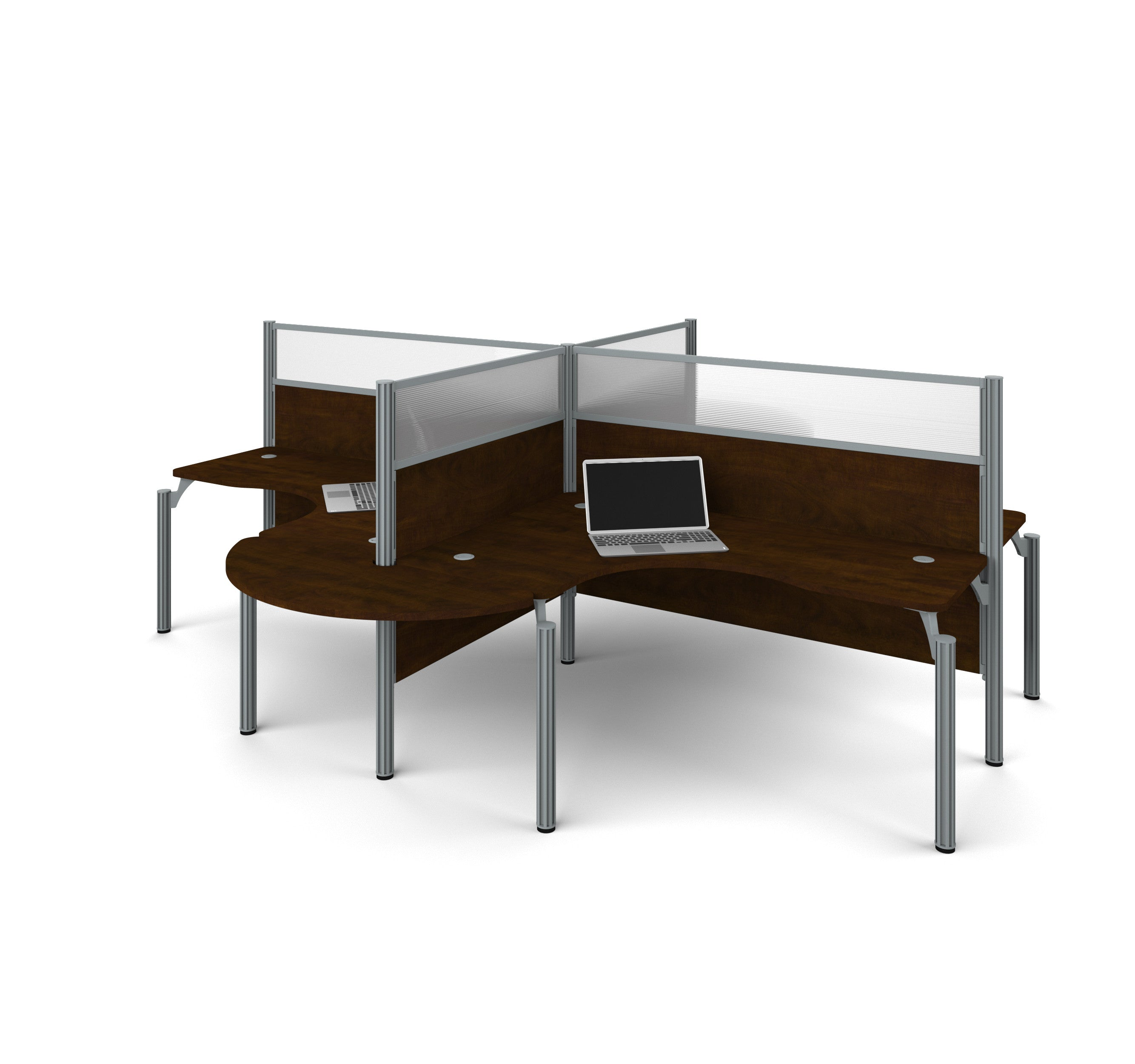 "Pro-Biz Quad Desk in Chocolate with Rounded Edges & 55"" Privacy Panels"