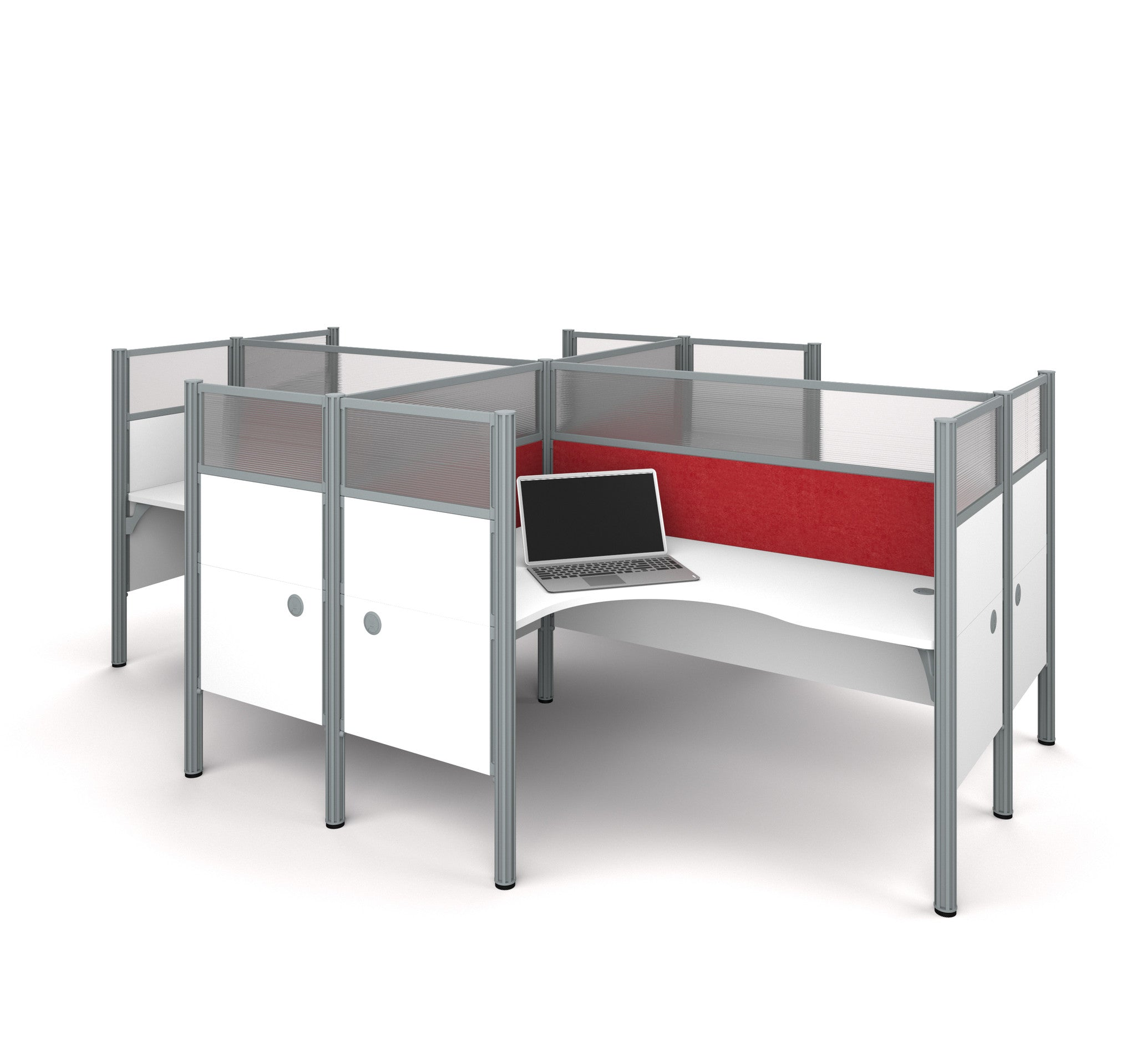 Pro-Biz White 4-Way Workstation with Ultimate Privacy & Red Tack Boards