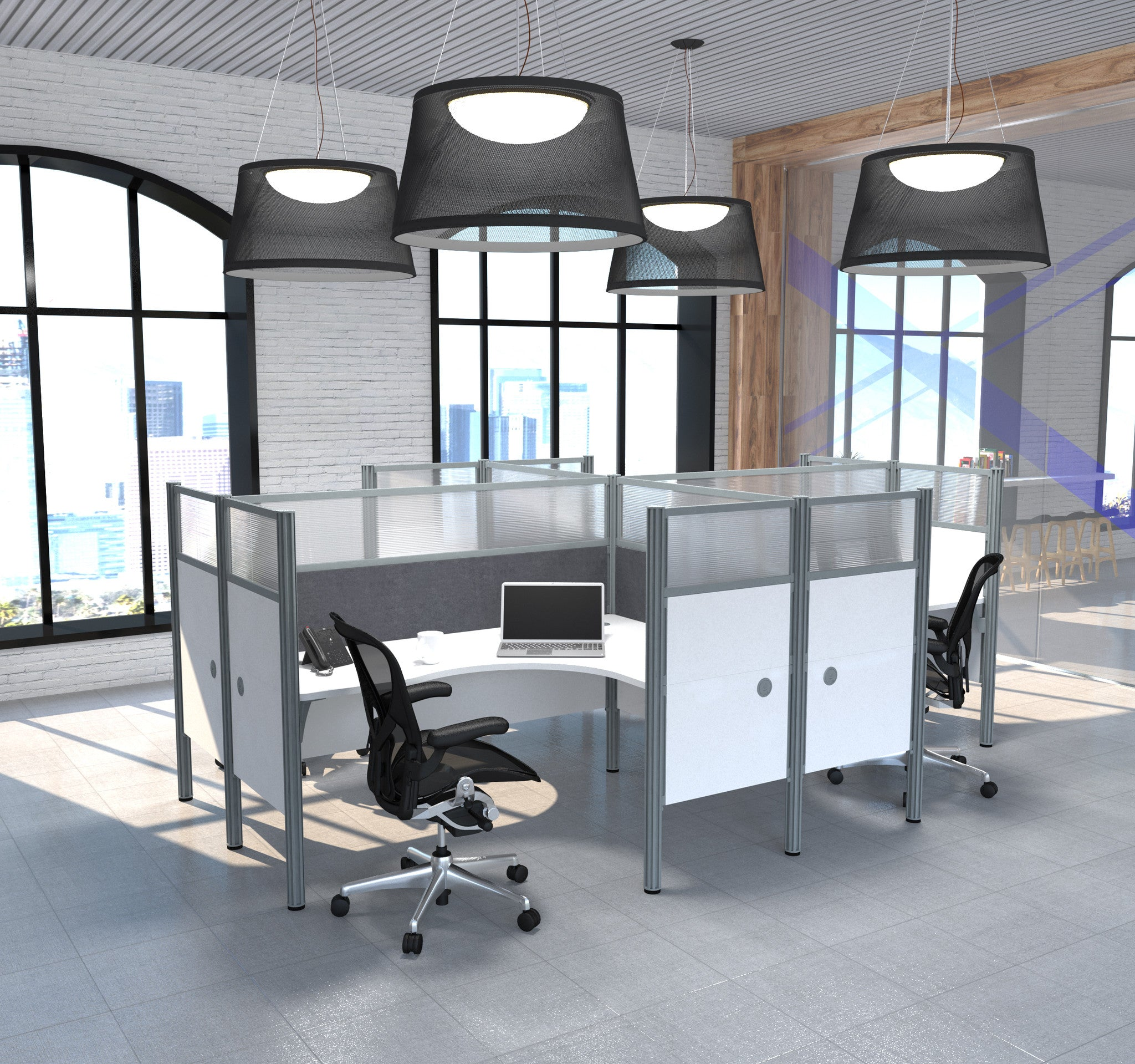 Pro-Biz White 4-Way Workstation with Ultimate Privacy & Gray Tack Boards