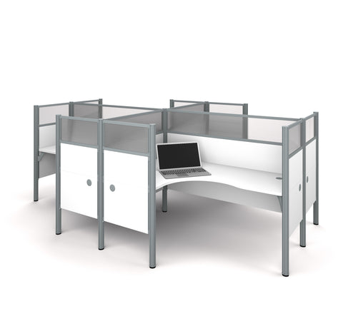 Pro-Biz 4-Way Workstation with Ultimate Privacy in White