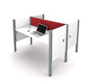 Pro-Biz Double Workstation in White with Red Tack Board