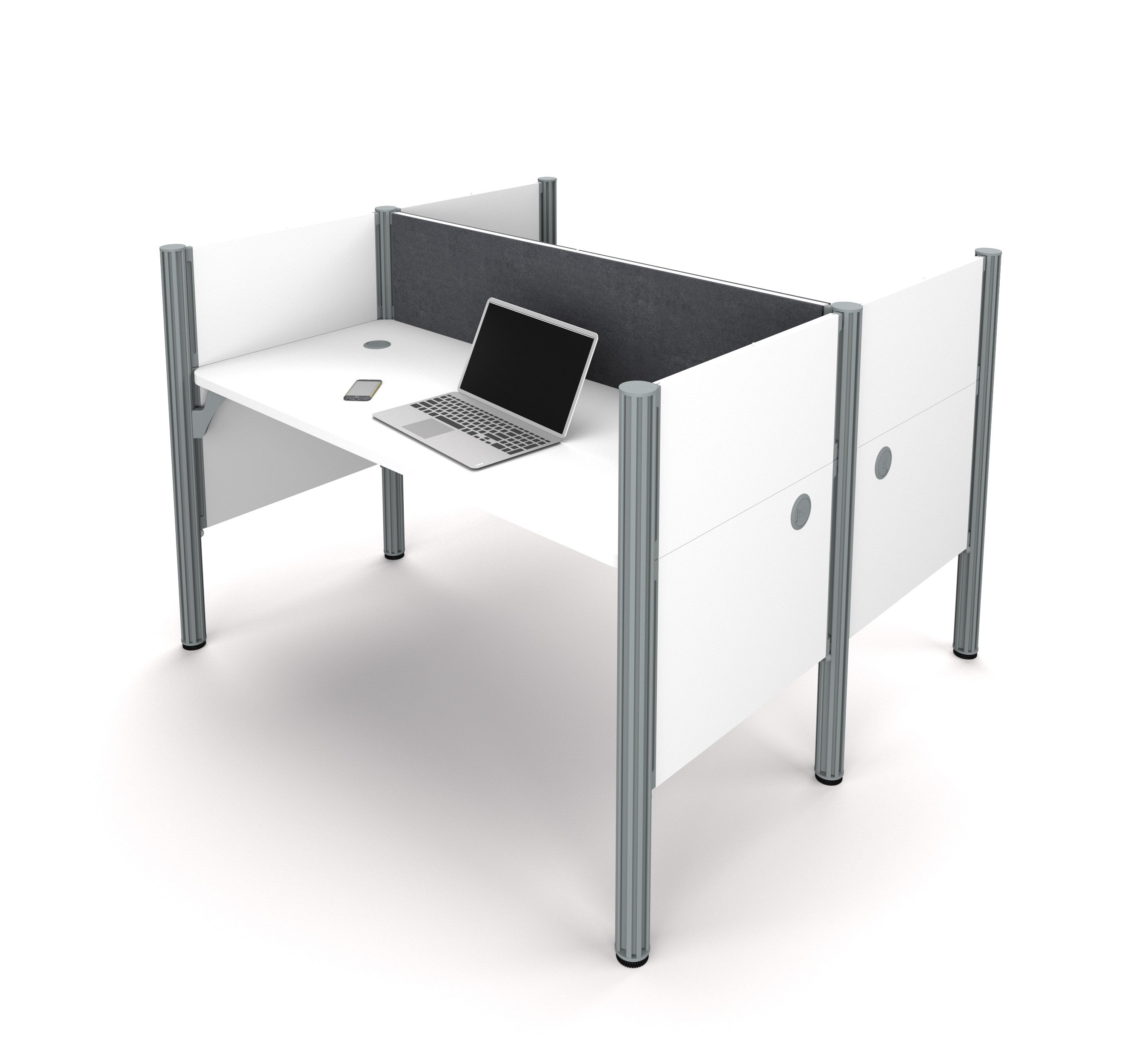 Pro-Biz Double Workstation in White with Gray Tack Board