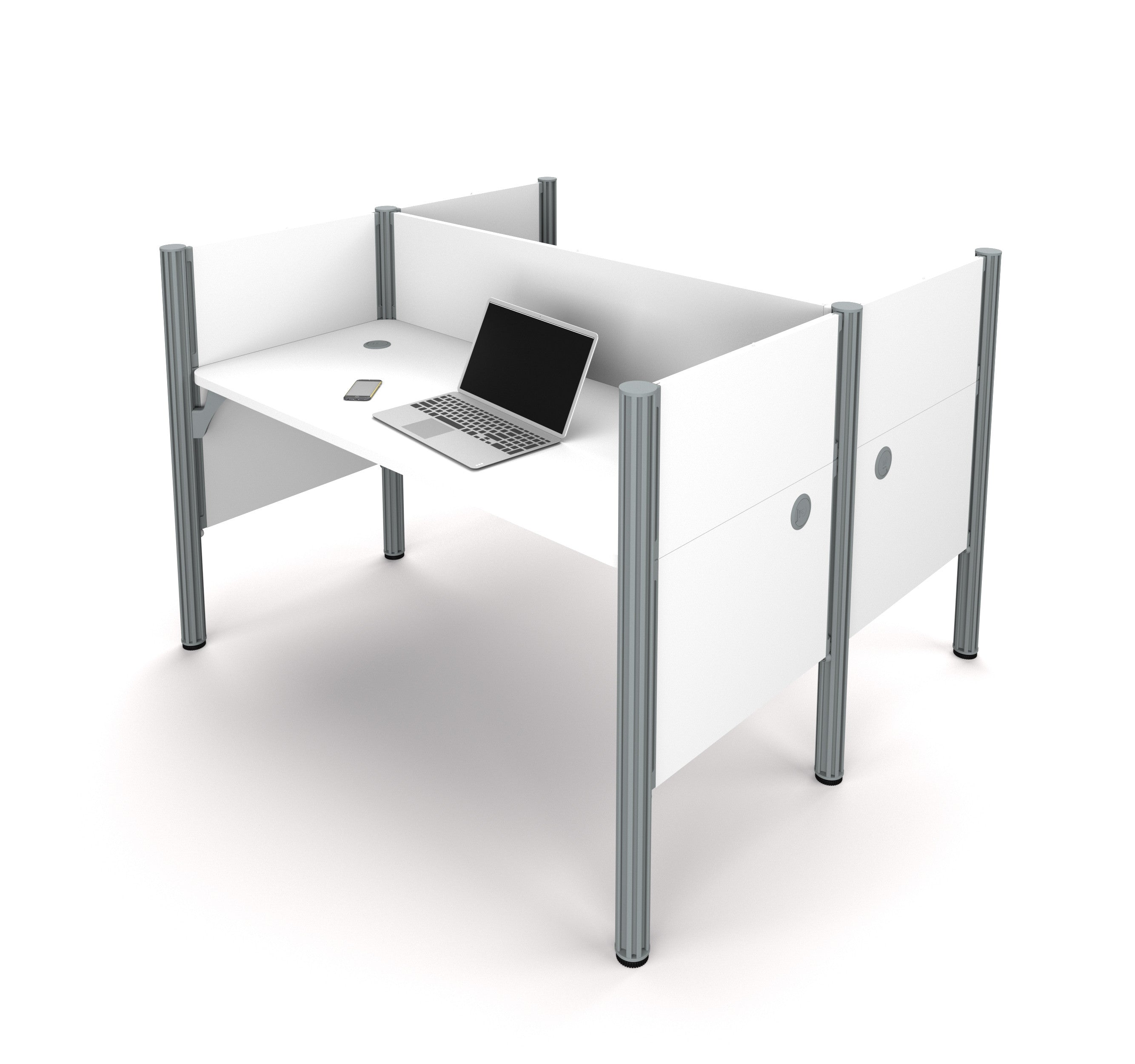 Pro-Biz Commercial Grade Double Workstation in White