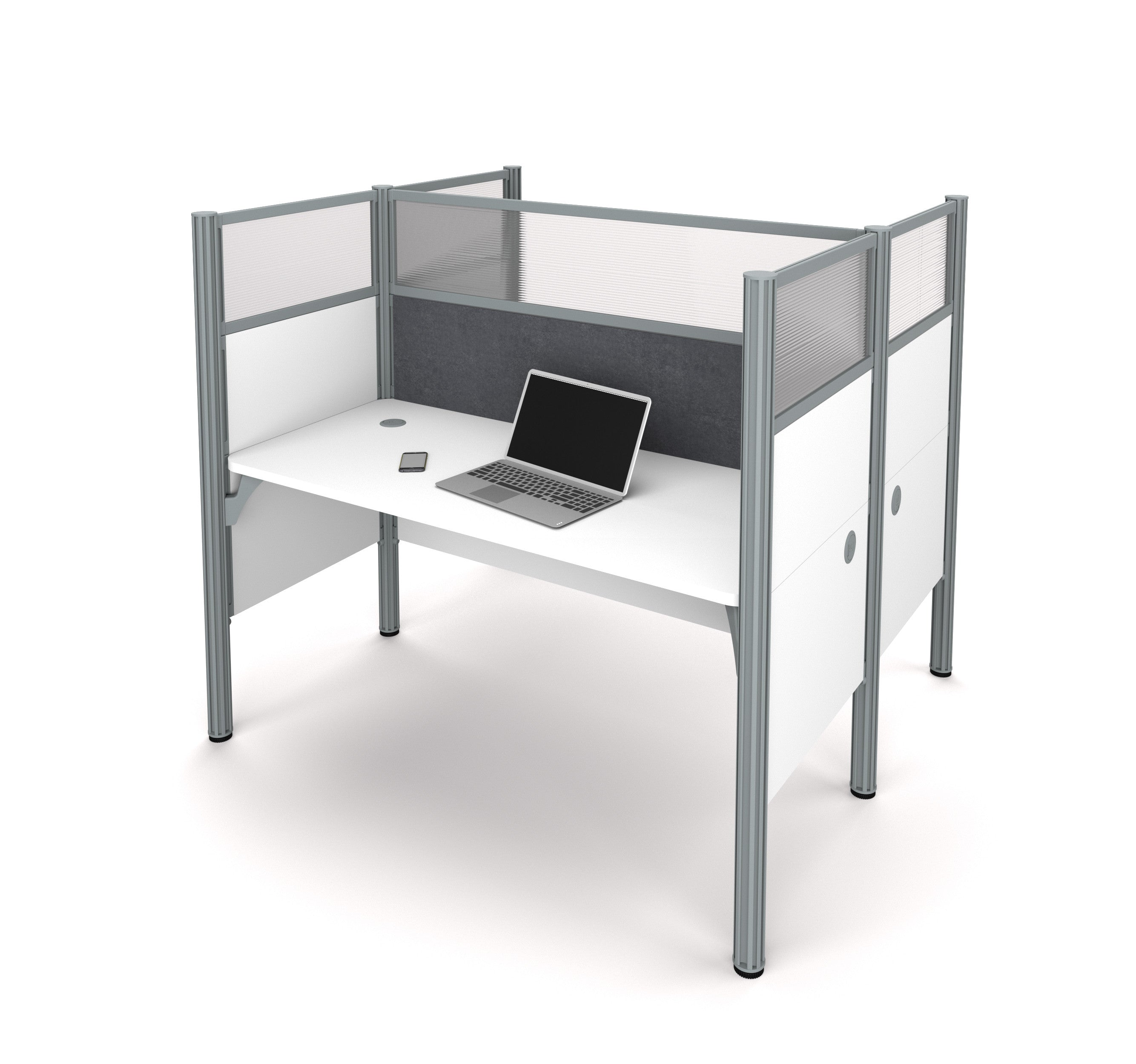"Double Desk in White with 55"" Privacy Panel & Gray Tack Board"
