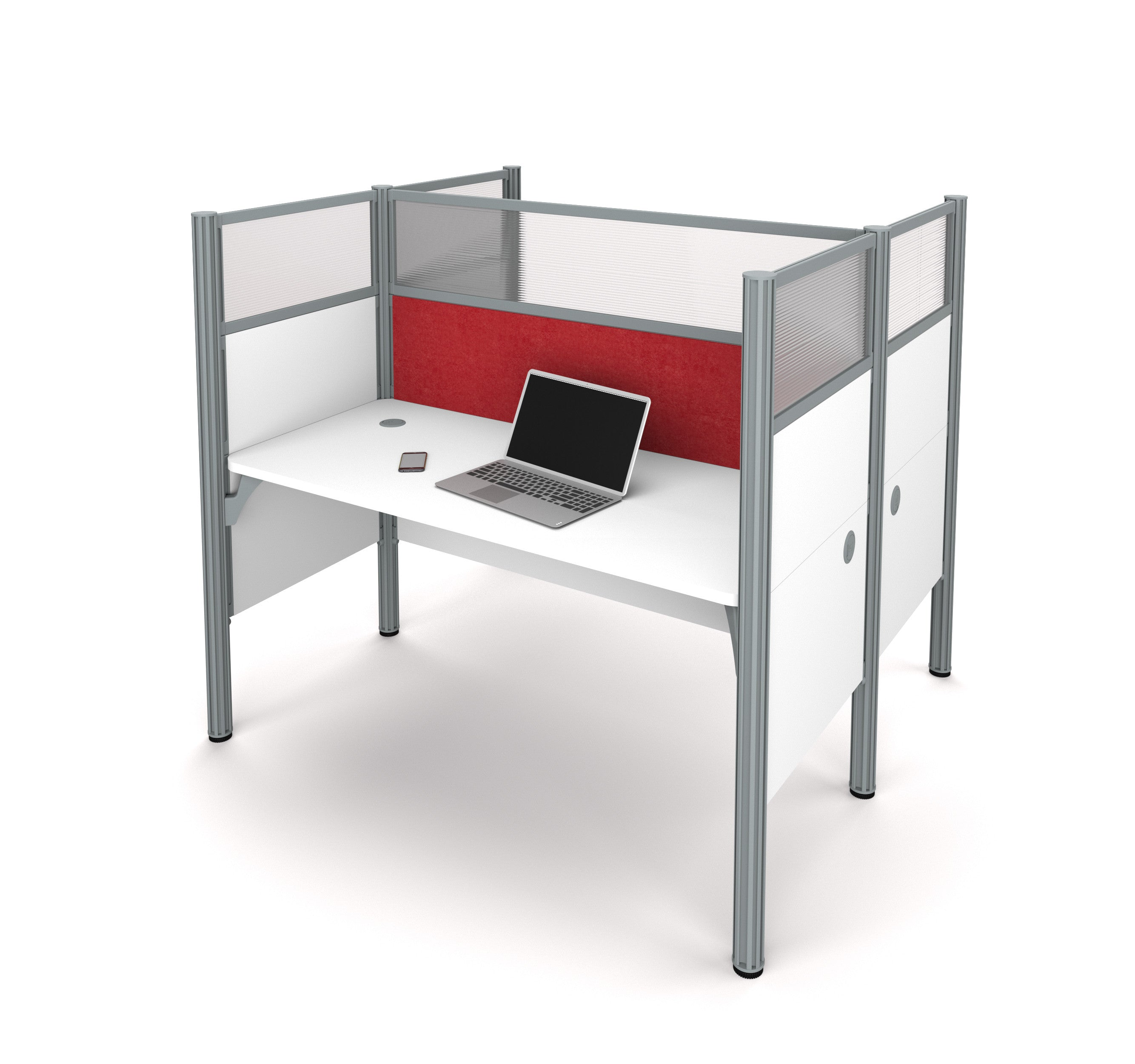 "Double Desk in White with 55"" Privacy Panel & Red Tack Board"
