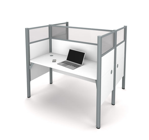 "Pro-Biz Double Desk in White with 55"" Privacy Panel"