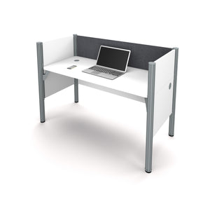 "Pro-Biz White 62"" Workstation with Privacy Panel & Gray Tack Board"