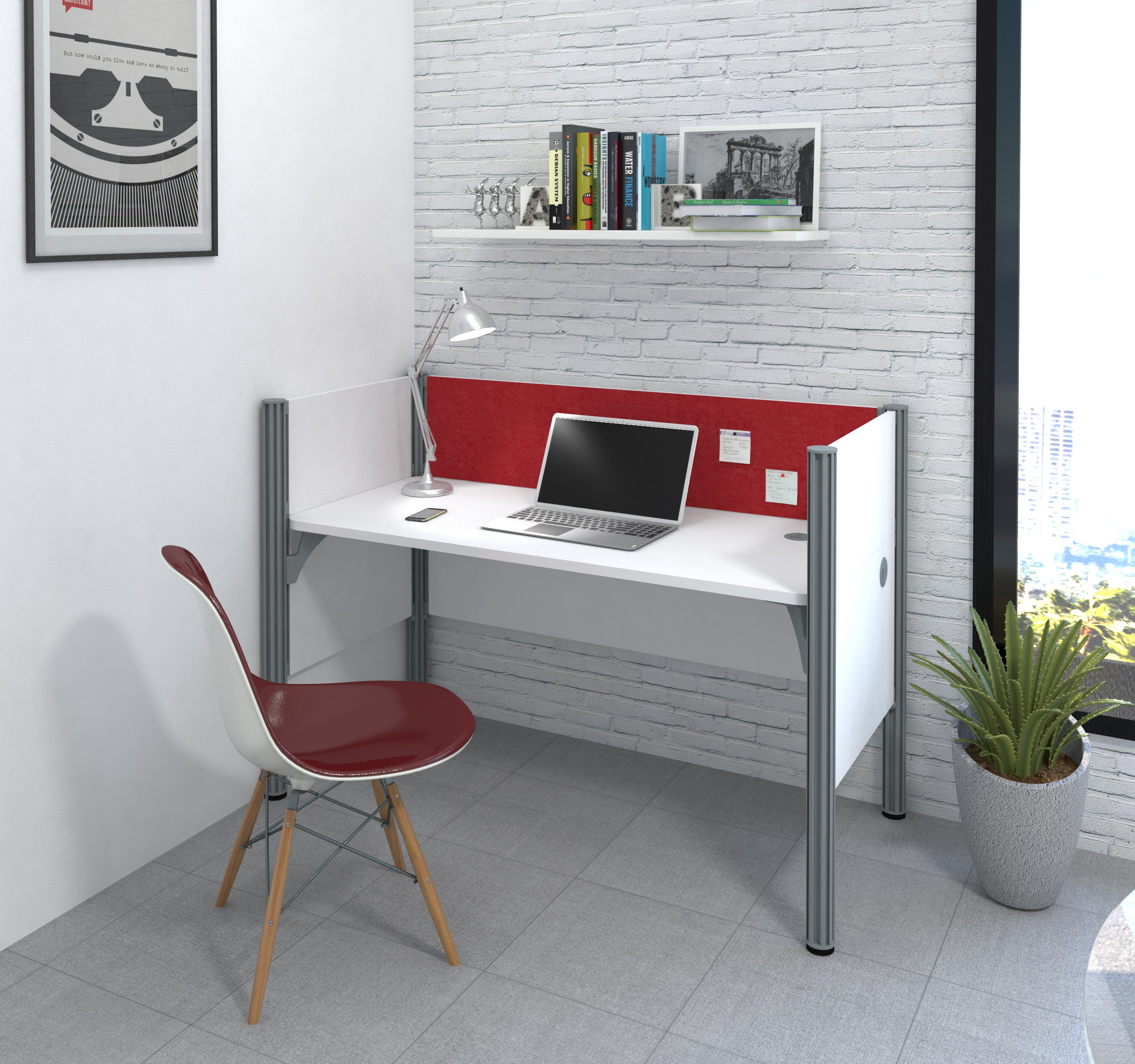 "Pro-Biz White 62"" Workstation with Privacy Panel & Red Tack Board"