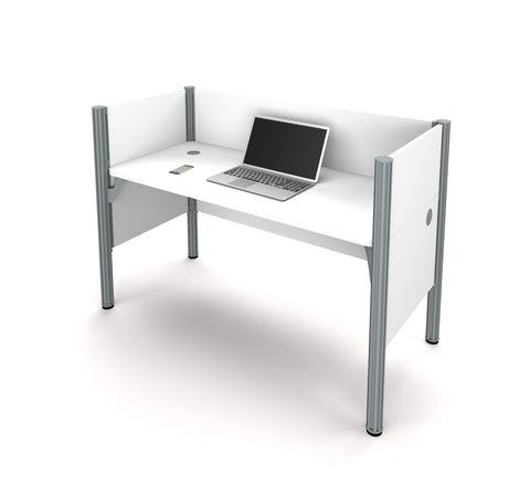 "Pro-Biz Premium 62"" Workstation with Privacy Panel in White"