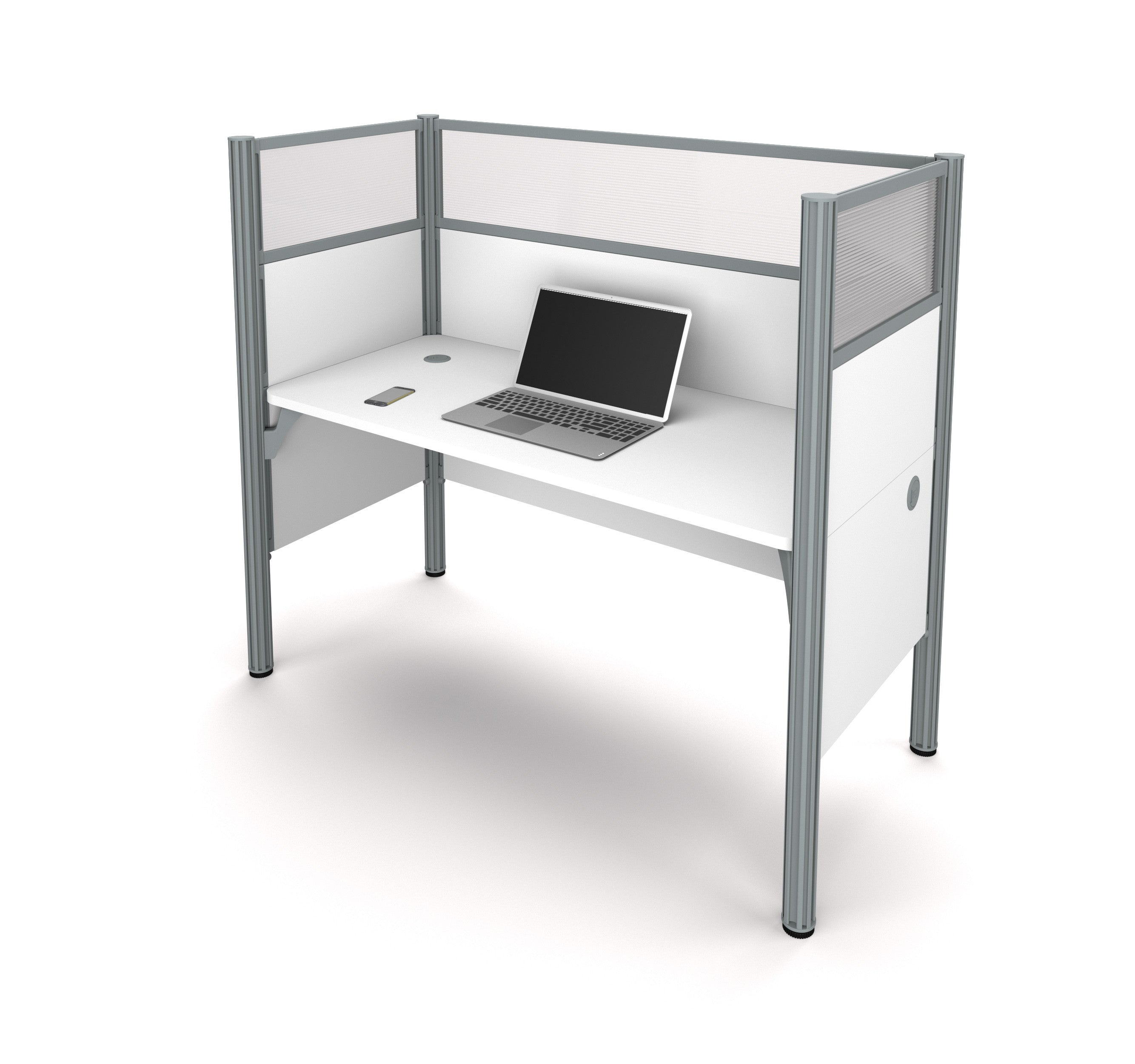 "Pro-Biz Premium 62"" Workstation with 55"" Privacy Panel in White"