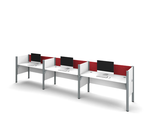 Pro-Biz Premium Triple Workstation in White with Red Tack Board