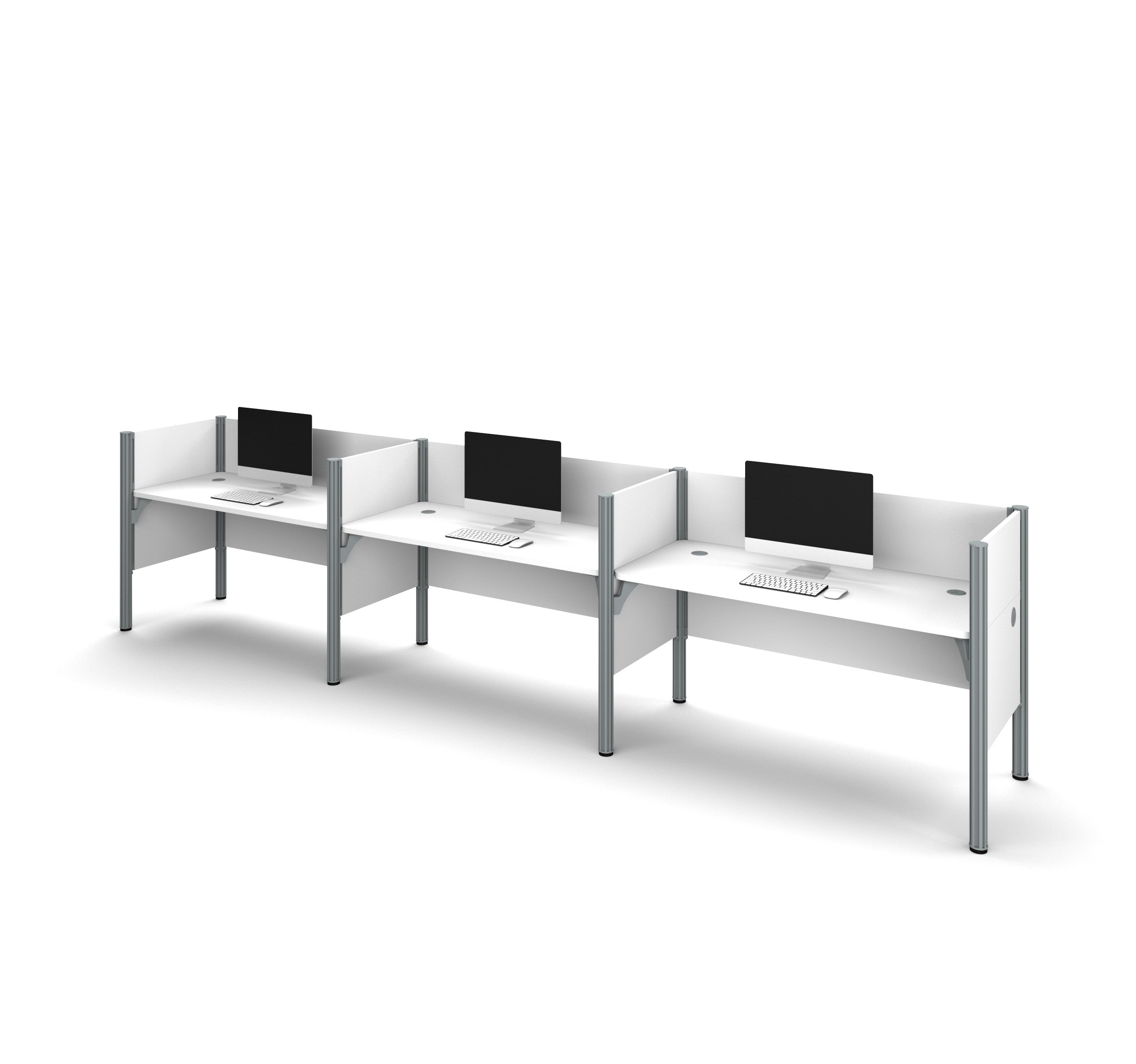 "Pro-Biz Premium Triple Workstation with 43"" Privacy Panel in White"