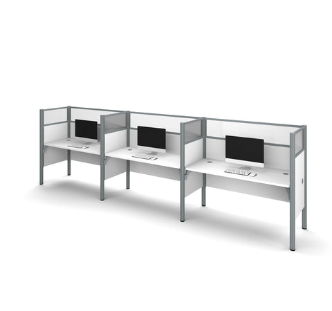"Pro-Biz Premium Triple Workstation with 55"" Privacy Panel in White"