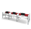 Pro-Biz Premium White Six Desk Workstation with Red Tack Board