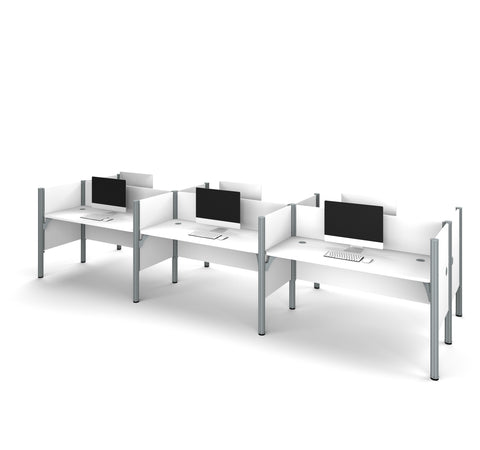 Pro-Biz Premium Six Desk Workstation in White