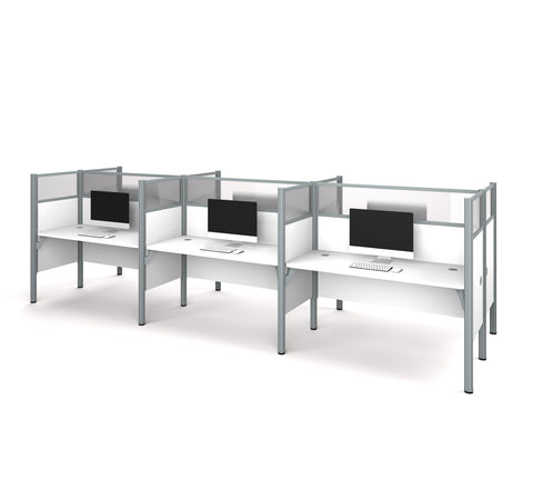 Pro-Biz Premium Six Desk Workstation with Privacy Panel in White