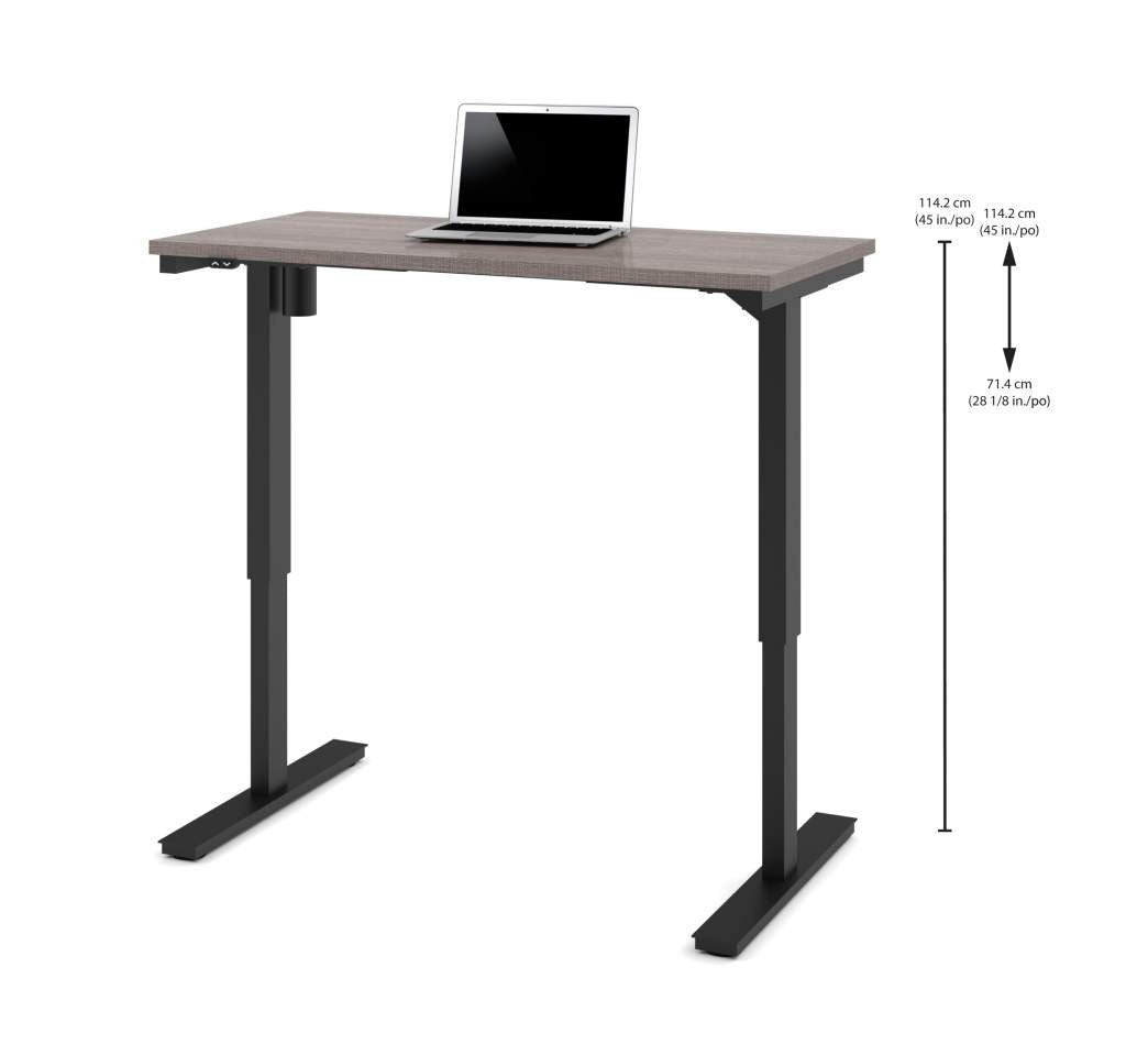 "48"" Sit-Stand Electric Height Adjustable Office Desk in Bark Grey (28"" - 45"" H)"