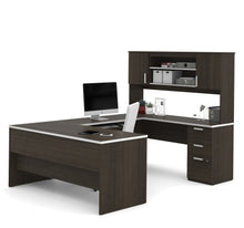 Load image into Gallery viewer, Dark Chocolate Modern U-shaped Office Desk with Brushed Nickel Accents