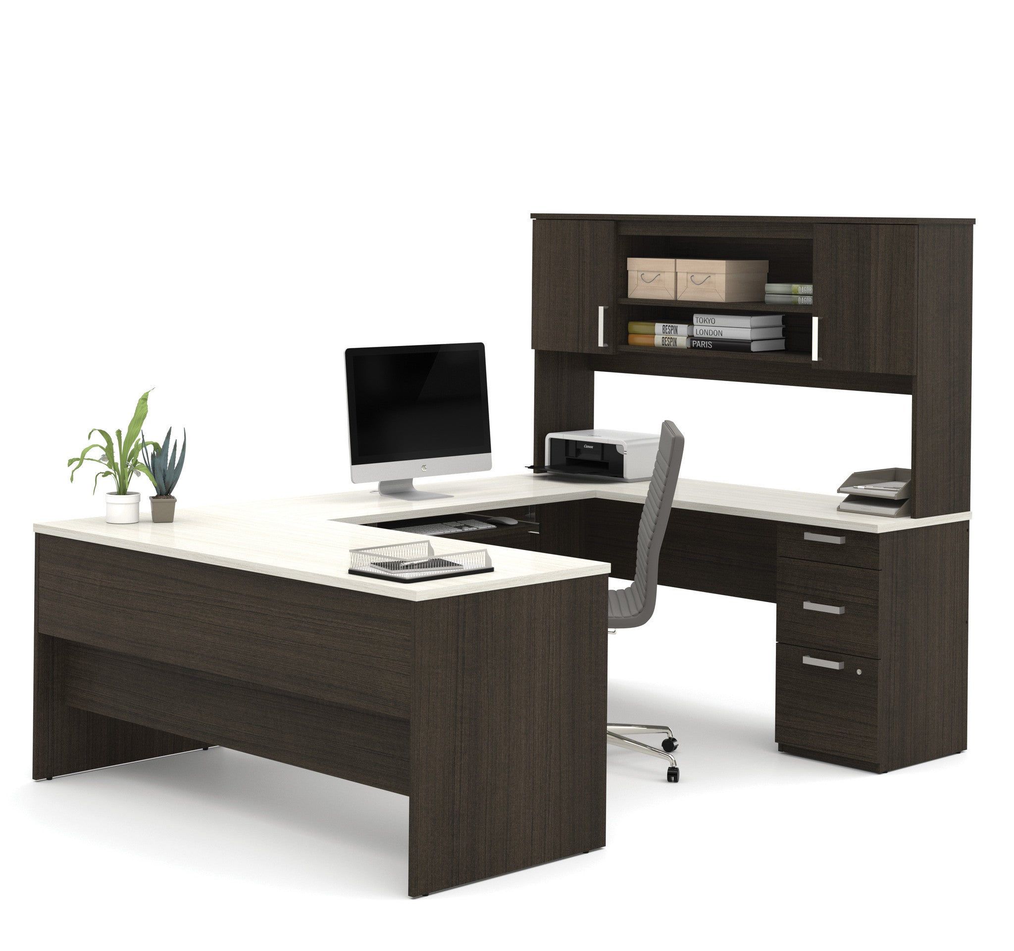 Dark Chocolate & White Modern Ushaped Office Desk. Space Saving Tables. Gaming Desk For Xbox. Shaw Walker Desk. Writing Desk And Hutch. Narrow Cabinet With Drawers. Service Desk Jobs In Singapore. Accent Tables With Drawers. Cd Storage Drawer