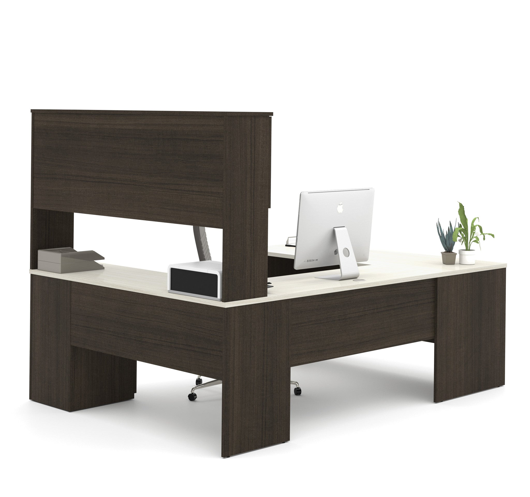 Modern Office Desk: Dark Chocolate & White Modern U-shaped Office Desk