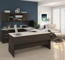 Load image into Gallery viewer, Dark Chocolate & White Modern U-shaped Office Desk