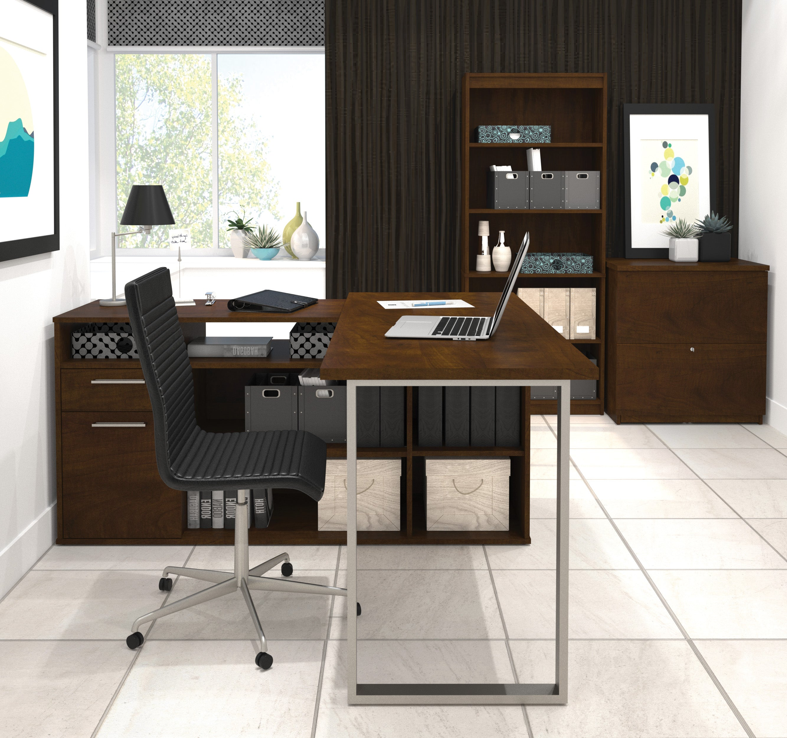 Three Part Set L Shaped Desk Lateral File Bookcase In