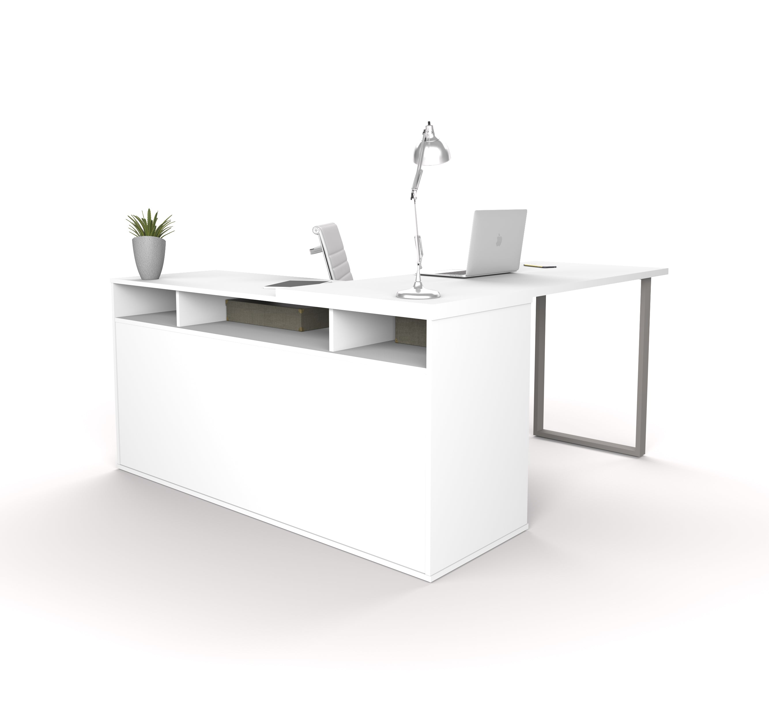 Integrated Modern White L Shaped Desk With Gray Accent Leg