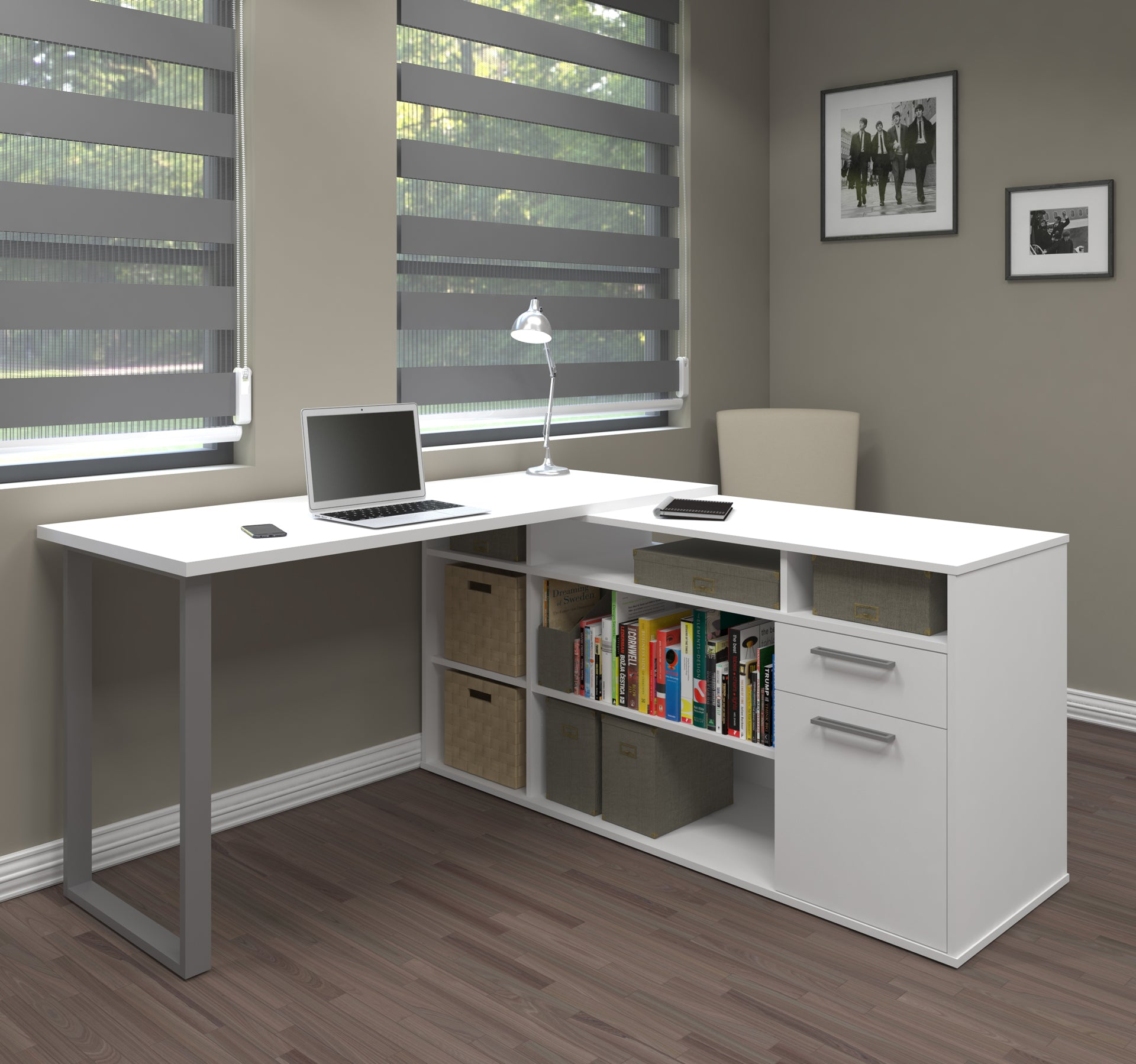Integrated Modern White L-Shaped Desk with Gray Accent Leg