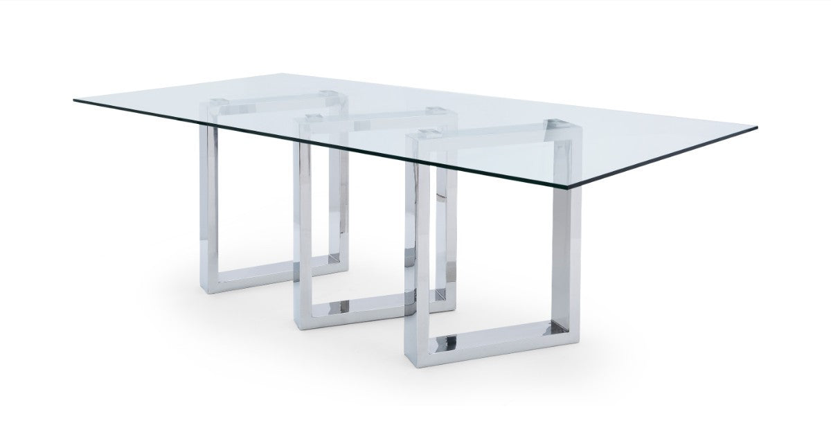 "Modern 87"" Glass Desk or Meeting Table with Unique Chrome Base"
