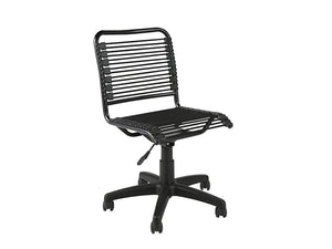 Black Armless Office / Conference Chair with Black Bungee Supports