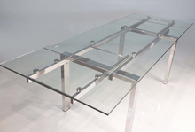 Load image into Gallery viewer, Modern Glass Conference Table or Desk with Polished Stainless Legs