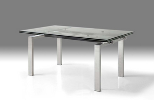 Modern Glass Conference Table or Desk with Polished Stainless Legs