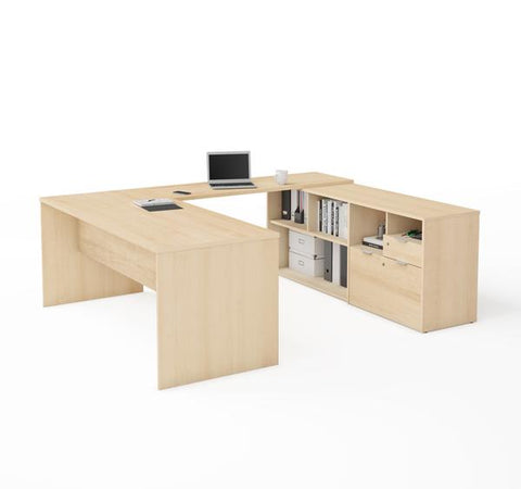 U-Shaped Northern Maple Office Desk and Credenza