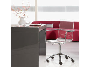 Modern Clear Acrylic Office Chair with Chrome Arms