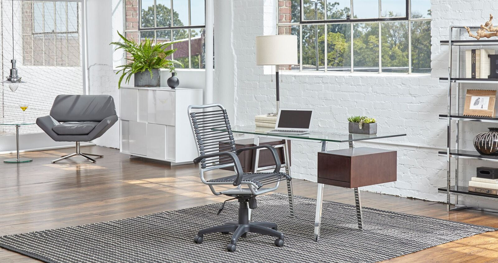"55"" Modern Brushed Stainless & Clear Glass Office Desk with Wenge Side Drawers"