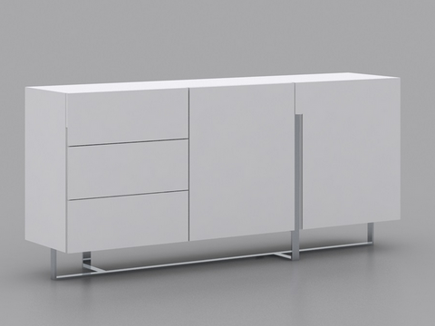 "White Lacquer & Chrome 71"" Modern Storage Credenza"