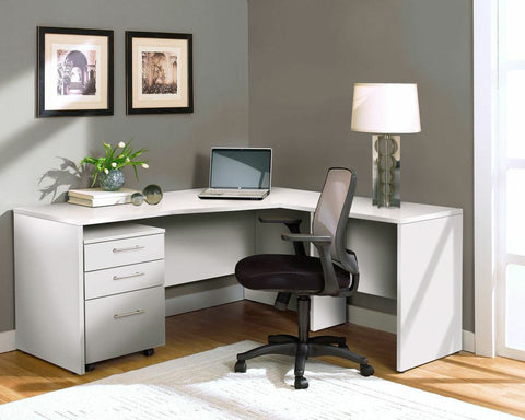 Modern L-shaped Desk with Mobile File in White