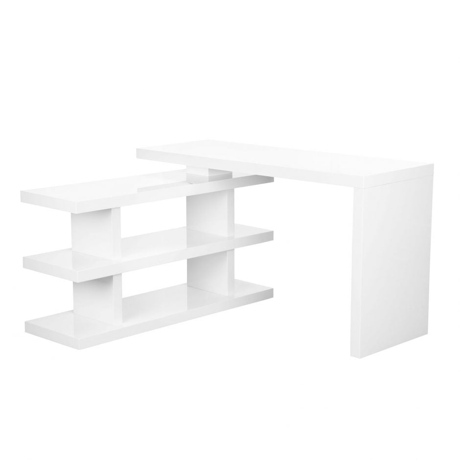 "52"" Modern White Office Desk With Movable Base"
